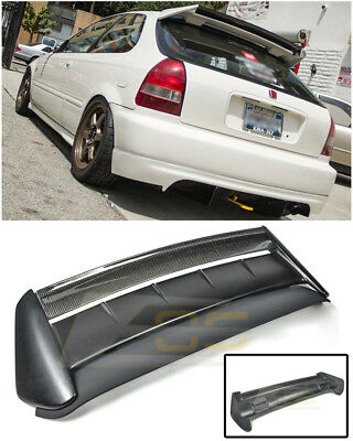 For 96-00 Honda Civic Hatchback SEEKER V2 CARBON FIBER Rear Roof Wing Spoiler