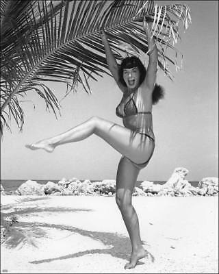 Bettie Page Clinging To The Palm Tree 8x10 Photo Print - Palm Tree Coloring Page
