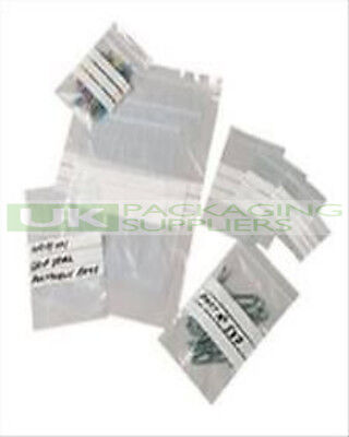 "500 SMALL 4 x 5.5"" PLASTIC GRIP SEAL BAGS + WHITE WRITING PANELS STRIPS - NEW"