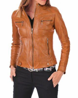 Womens Leather Jacket Real Lambskin Biker Motorcycle Tan Slim Fit Jacket Coat ()