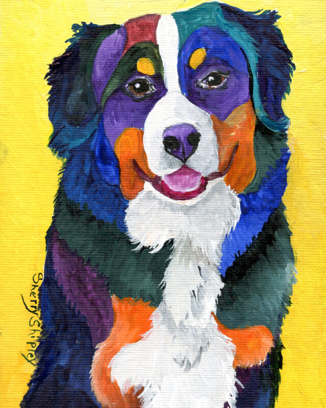 Bernese Mountain Dog 8X10 DOG Print from Artist Sherry Shipley