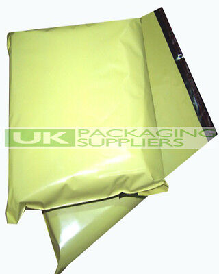 100 LARGE YELLOW PLASTIC MAILING BAGS 14 x 20