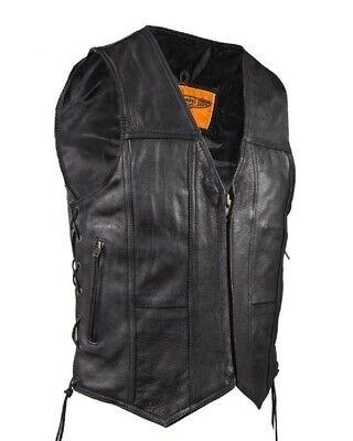 MENS MOTORCYCLE SPLIT COWHIDE LEATHER VEST w/ SIDE LACES & GUN POCKET - (Men Cowhide Leather)