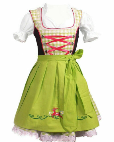 Girls,Kids,US sz 12,Germany,German,Trachten,Oktoberfest,Dirndl Dress,3-pc.Green,