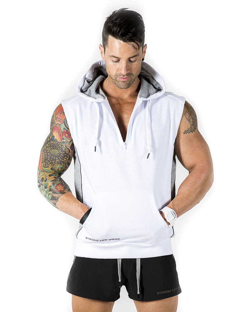 Mens Sleeveless Hoodie Jumper Vest - White Polo Sweater