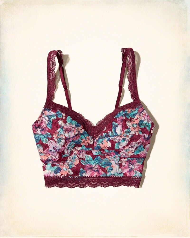a4f0f3c3b5fc4 XS Gilly Hicks Removable-Pads Printed Lace Longline Bralette (never worn)