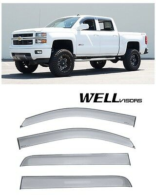 For 14-17 Silverado Crew Cab WellVisors Side Window Visors Deflectors Rain Guard