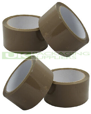 12 ROLLS OF BUFF BROWN PACKAGING PARCEL TAPE 2 INCHES WIDE x 66 METRES - NEW