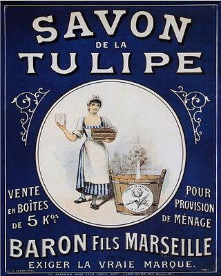 Savon De La Tulipe - VINTAGE ADVERTISING ENAMEL METAL TIN SIGN WALL PLAQUE
