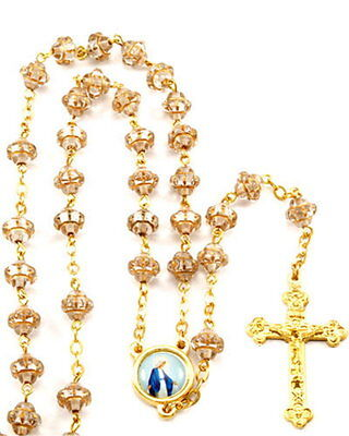 "NEW MADE IN ITALY CLEAR WITH GOLD TRIM ""MEDIEVAL"" GLASS BEAD ROSARY"