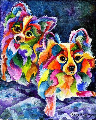 PAPILLION Original 8X10 Acrylic Framed DOG Painting by Sherry
