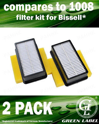 2 Pack for Bissell 1008 Filter Kit. Compares to 2032662, 2032663. By Green Label
