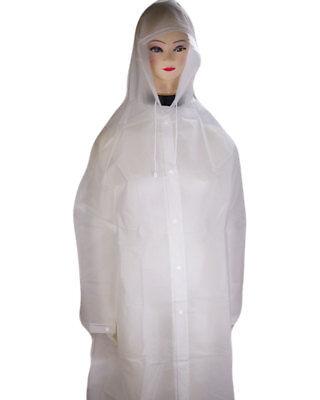 Regenjacke Regenmantel Regenponcho Regencape Weiß mit Rand an der Kapuze