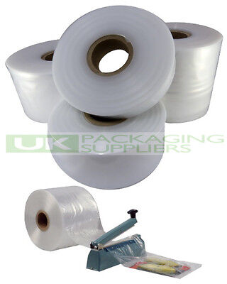 "3 ROLLS OF 8"" CLEAR LAYFLAT TUBING 250gauge POLYTHENE PLASTIC 336 METRES - NEW"