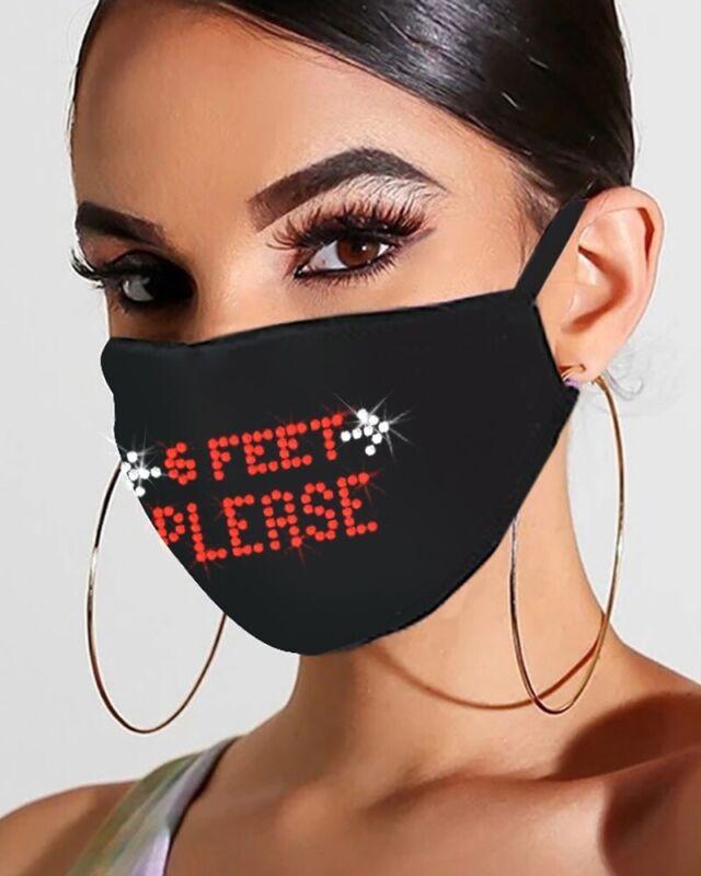 Bling Rhinestone Letter Pattern Face Mask for women