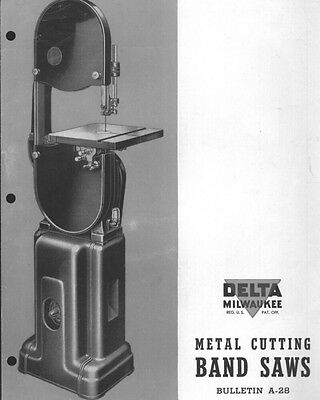 Delta Rockwell  Metal Cutting Band Saws A-28 Instructions
