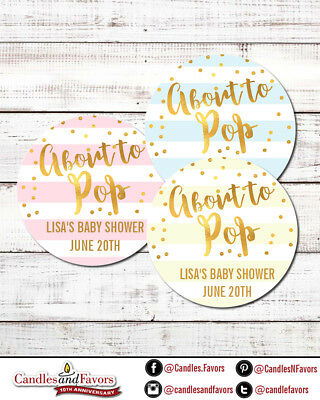 About To Pop® Round Personalized Baby Shower Sticker Labels | Pastel Color Gold