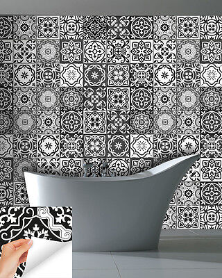 Bathroom 24 PCS Black&White decor tile Stickers wall decals Kitchen Stairs SB15 Black White Bathroom Tile