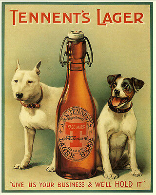 Tennents Larger Dogs VINTAGE ADVERTISING ENAMEL METAL TIN SIGN WALL PLAQUE