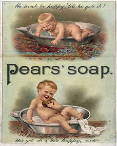 Pears-039-jabon-bebe-Vintage-Publicidad-cartel-metal-Placa-de-pared