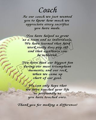 TO OUR SOFTBALL COACH PERSONALIZED PRINT POEM END OF THE YEAR APPRECIATION GIFT