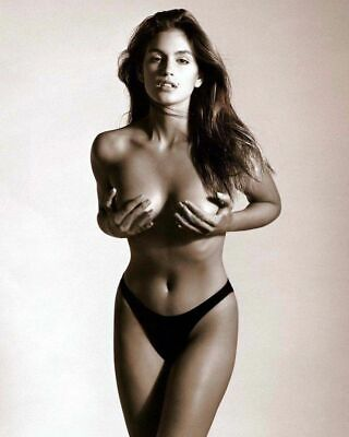 A Cindy Crawford Grabbing The Breasts Posing 8x10 Picture Celebrity Print (Cindy Crawford Photos)