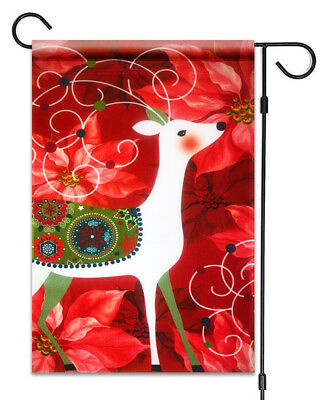 "Christmas Deer & Poinsettia Flower Flag 12""X18"" Merry Christmas Decorative Flag"