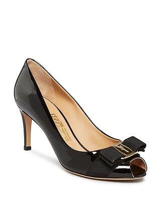 Salvatore Ferragamo Pola Peep Toe Pumps Black Nero/Gold Size 5.5 NEW in Box