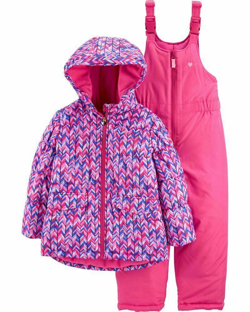 OSHKOSH Little Girl's 4 5/6 6X Pink Chevron 2-Pc Bib Snowsui