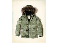 Hollister Men Olive Camo Designer Down Nylon Parka (Size S,M Available) RRP £160