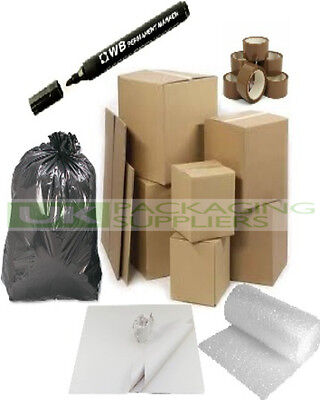 HOUSE MOVING REMOVAL PACKING STORAGE KIT- 15 THICK BOXES, BUBBLEWRAP TAPE TISSUE
