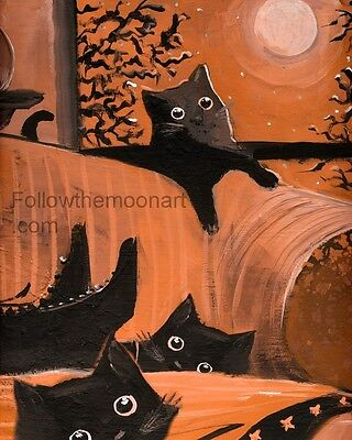 Halloween Orange Glow 3 Black Kitten Cats Witch Boots Quality Wall Art Print  (3 Black Cats Halloween)