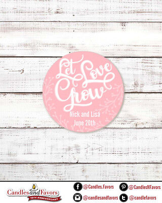 Let Love Grow - Round Personalized Bridal  Wedding Shower Sticker Labels (Love Wedding Shower)