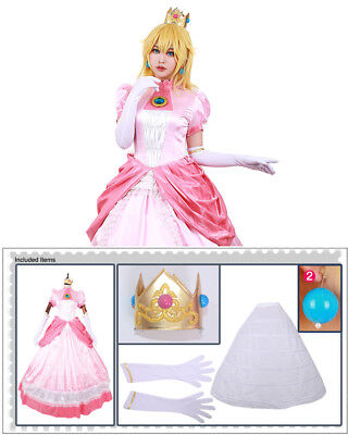 Adult Princess Peach Costume Women Super Mario Bros and Luigi Cosplay Pink Dress