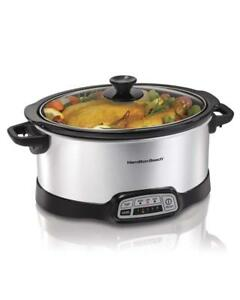 NEW Hamilton Beach 33473 Programmable Slow Cooker, 7-Quart, Silver Condition: New