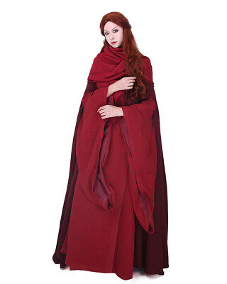 The Red Witch Game of Thrones Costume Melisandre Halloween Cosplay Cloak Dress