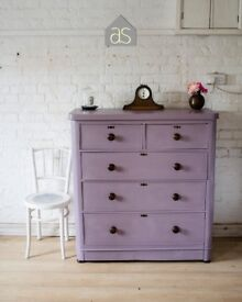 Large Victorian Chest of 5 Drawers in Emile Chalk Paint (Millennium/Dusty Pink) (70)