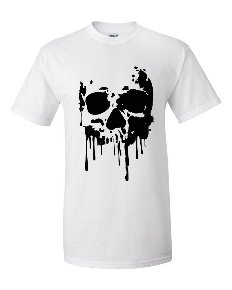T-Shirt Skull Totenkopf Blood Blut Herren S-3XL weiß white Dead Head Death