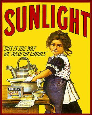 Sunlight Soap Wash The Clothes VINTAGE ENAMEL METAL TIN SIGN WALL PLAQUE