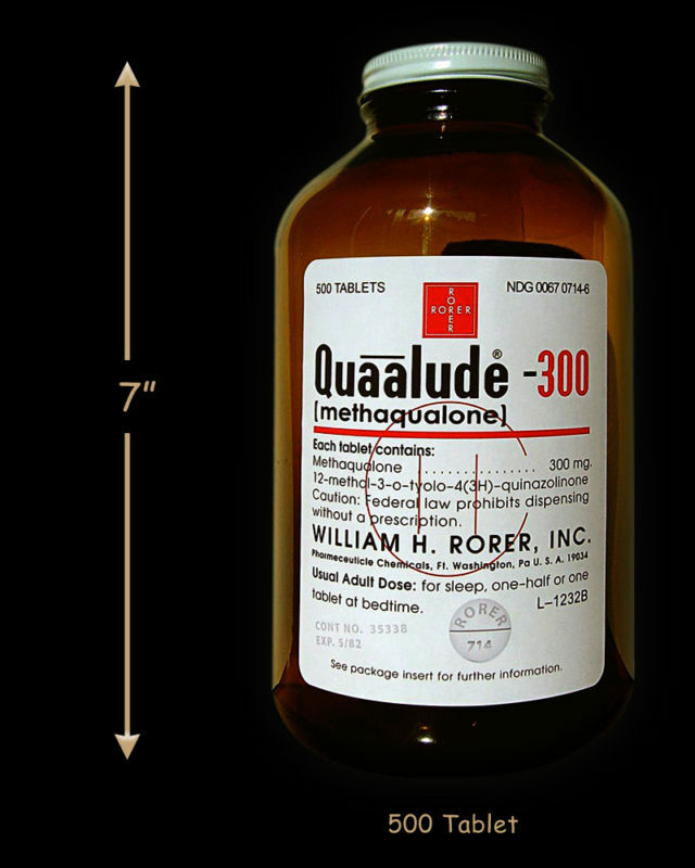 Large reproduction Quaalude bottle, Quaaludes qualude