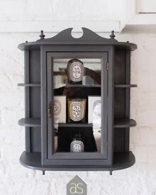 Re-loved (Extra Large) Display Cabinet Hand Painted in Graphite & French Linen Chalk Paint Blend