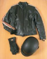 Ladies LEATHER JACKET, CHAPS, HELMET & Harley Davidson GLOVES