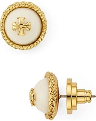 Gold Tone Rope Earrings (Tory Burch Rope Logo  Studs Earrings Gold Tone WHITE NEW On Card with Dust)