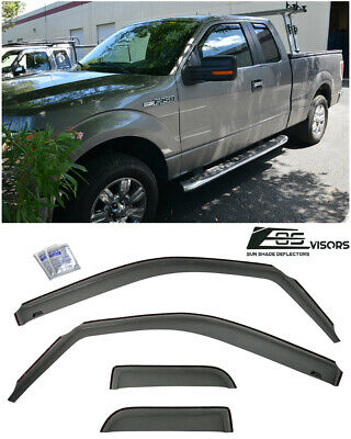 In-Channel Window Visors Side Deflectors For 04-14 Ford F-150 Extended Cab