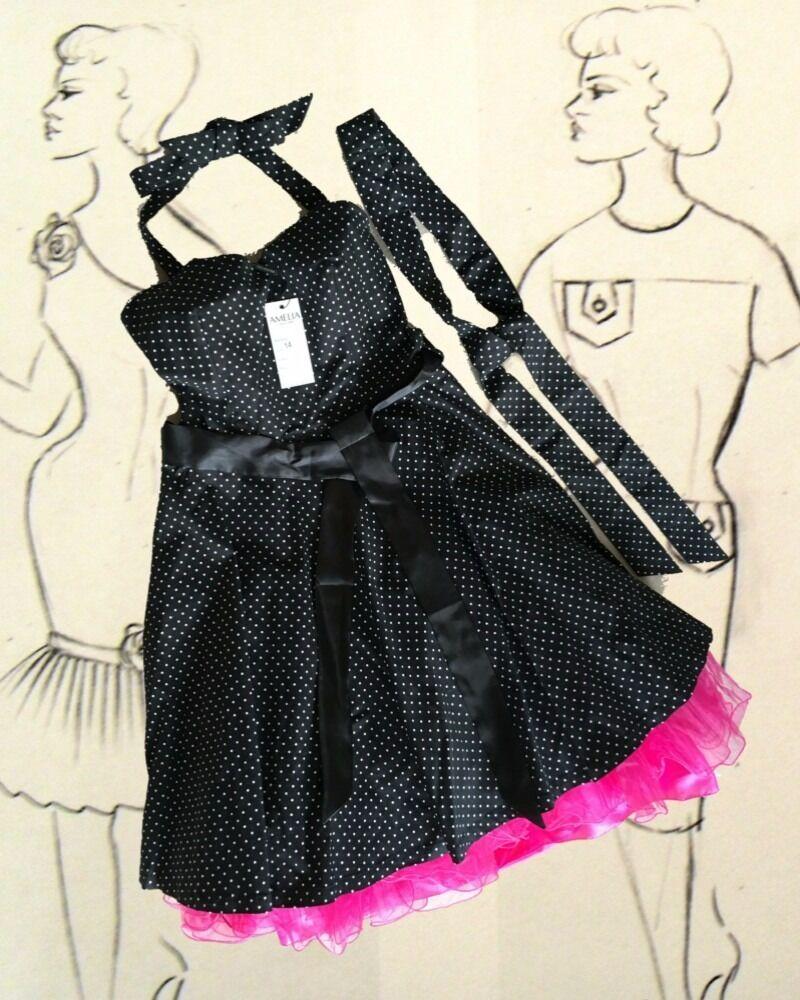 Party/Prom dress black w white dots
