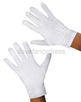 SHORT WHITE GLOVES ADULT MAGICIAN FANCY DRESS MIME SANTA COSTUME ACCESSORY  - White Magician Gloves