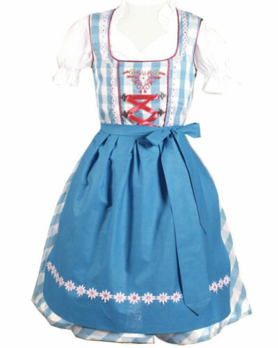 Girls,Kids,sz 4.Germany,German,Trachten,May,Dirndl Dress,3-pc.Blues.B-Ware