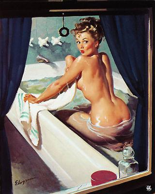 Bath Bathroom PIN UP GIRL Window - Vintage Art Print Poster - A1 A2 A3 A4 A5