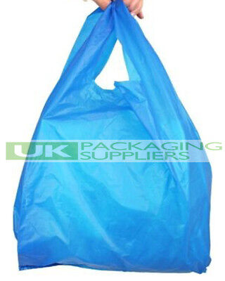 2000 x BLUE PLASTIC POLYTHENE VEST STYLE CARRIER BAGS 11 x 17 x 21