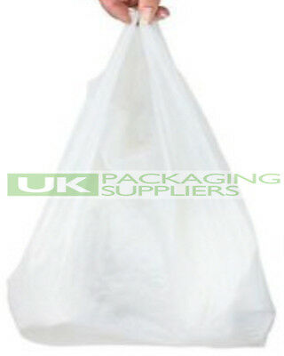 1000 x WHITE PLASTIC POLYTHENE VEST STYLE CARRIER BAGS 11 x 17 x 21
